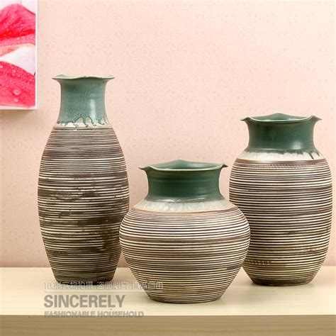 home decor ceramics set of three modern ceramic vase home decor decoration crafts hand threaded lotus leaf arranged