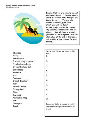 trapped on an island worksheet desert island debate by palla teaching resources tes