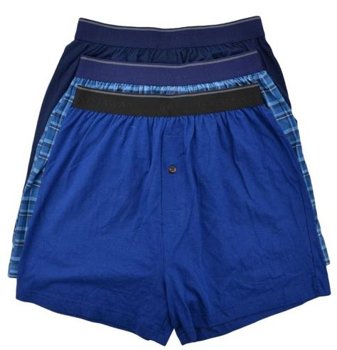 Hathaway Mens Knit Boxers 3 Pack Blue Plaid