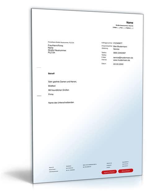 Formellen Brief Beispiel allgemeiner musterbrief vorlage zum