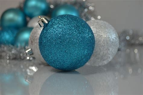 turquoise and silver christmas ornaments photograph by