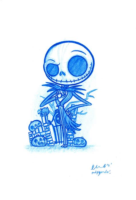daily doodle drawing blue doodle 27 skellington daily