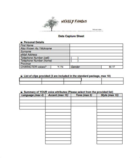 data capture form template 27 data sheet templates free sle exle format