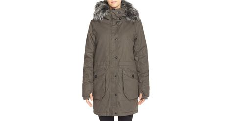 faux fur bench uk lyst bench wolfish ii water resistant parka with faux