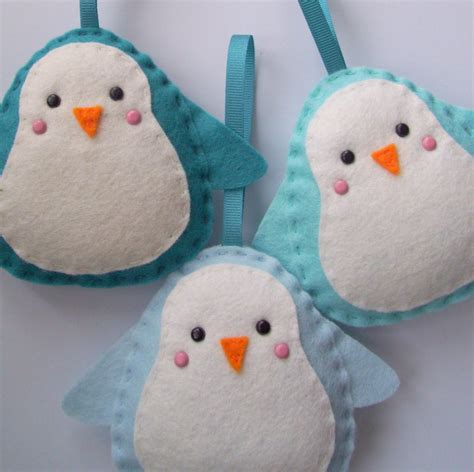 bulk buy 12 handmade penguin felt decorations