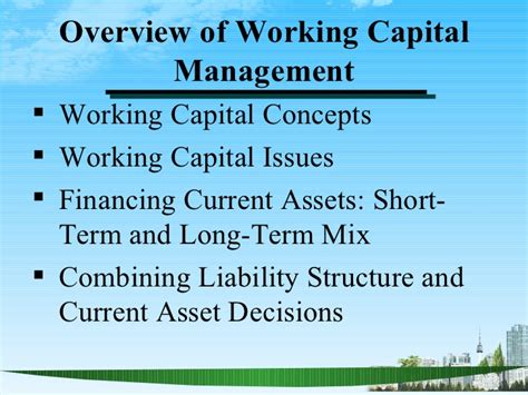 Mba Ppt On Capital Structure by Overview Of Working Capital Management Ppt Bec Doms