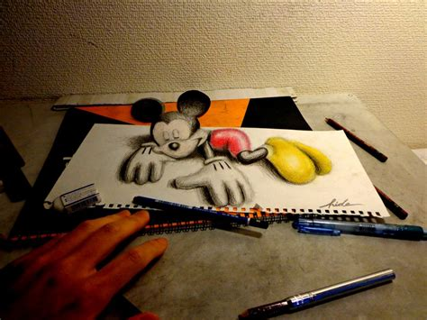 How To Make 3d Sketch On Paper - 3d drawing 3d mickey mouse by nagaihideyuki on deviantart
