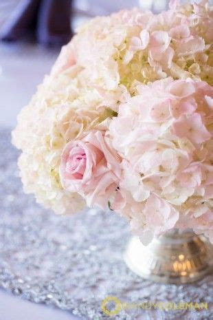 blush pink and white hydrangea and rose low centerpiece