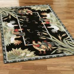 rooster and hens area rugs