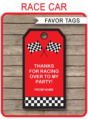 race car party favor tags   tags