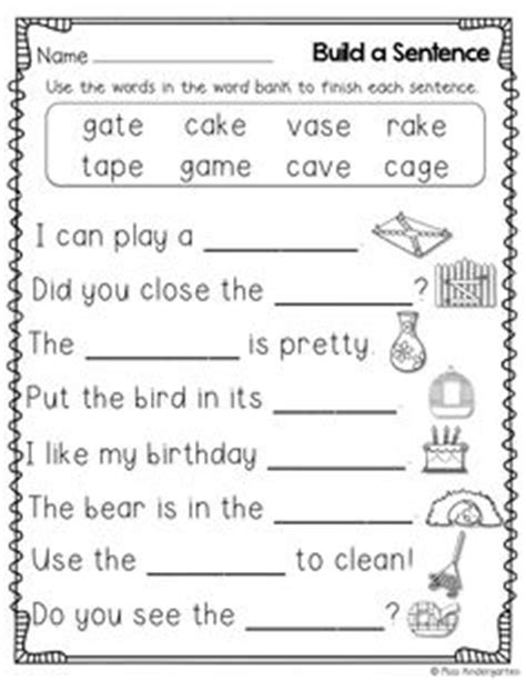 Play And Learn Vocabulary K1 cvc crossword puzzles for beginning readers and simple sentences with sight words kinderland