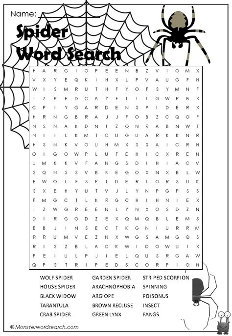 Spider Search Spider Word Search Word Search Word Search