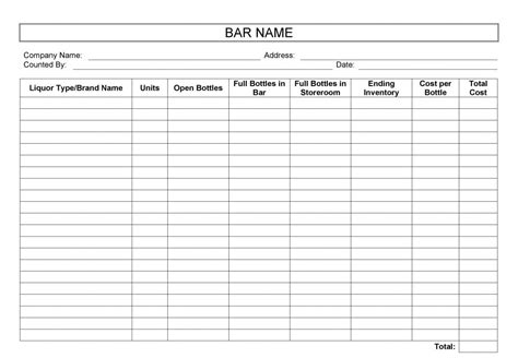 Bar Inventory Templates by 24 Free Inventory Templates For Excel And Word You Must