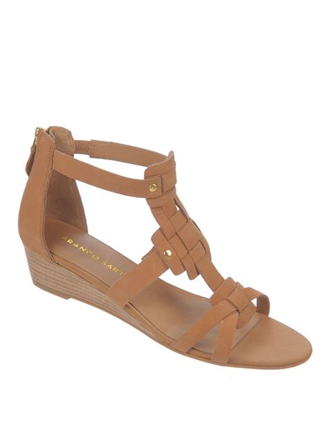 franco sarto sandals franco sarto ulysses nubuck leather wedge sandals in brown