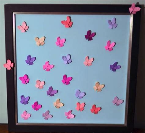 How To Make Paper Butterflies For Wall - soaring origami butterfly wall allfreepapercrafts