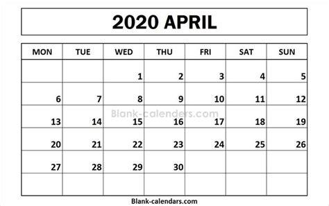 april  calendar monday start format  calendar calendar