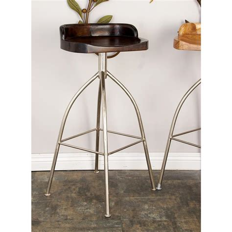 Iron Bar Stool With Wood Seat by 35 In Silver Metallic Iron Bar Stool With Brown Wooden