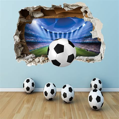 football stickers for walls football wall sticker 3d smashed bedroom boys