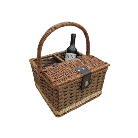 picnic baskets buy hambledon wicker picnic basket wine carrier the basket company