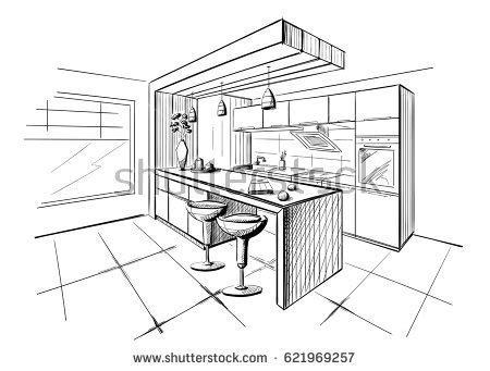 sketch drawing of a kitchen with island google search interior sketch modern kitchen island stock vector