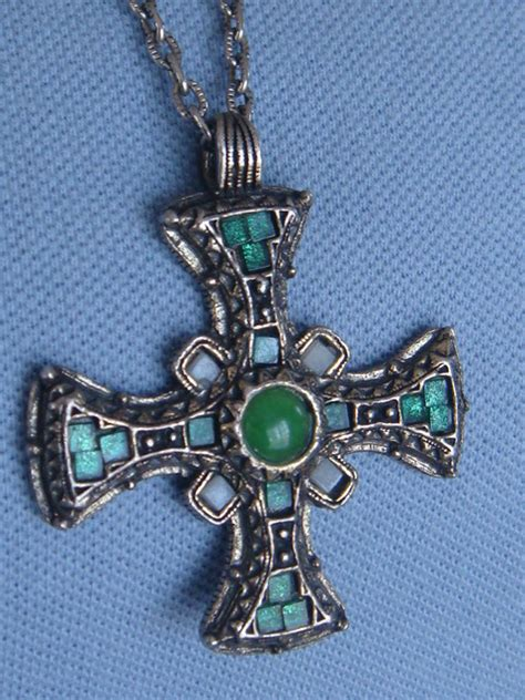 anglo saxon cross necklace vintage signed miracle