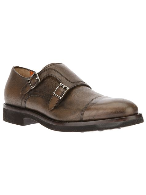 buckle shoes santoni buckle shoe in brown for lyst
