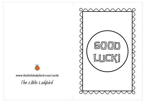 Luck Greeting Card Template by Free Greeting Cards Coloring Pages Thelittleladybird