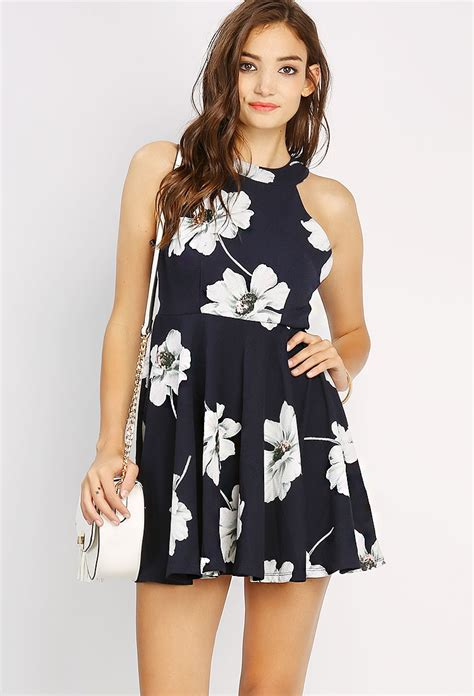Mergory Flowery Flare Mini Dress flower patterned flare mini dress shop clothing at