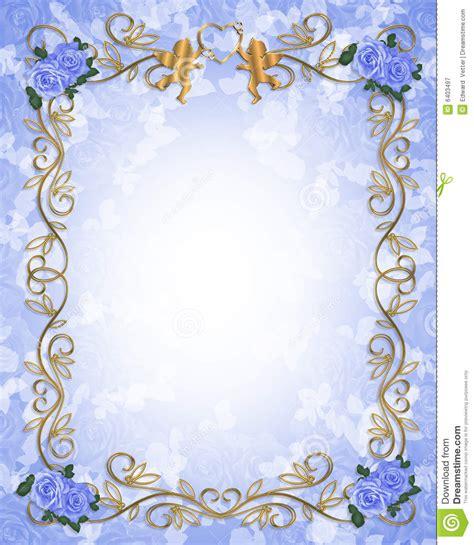 wedding invitation blue roses angels royalty free stock