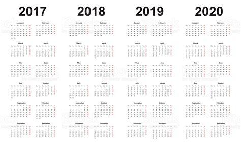2018 And 2019 Calendar Calendar 2017 2018 2019 2020 Simple Design Sundays Marked