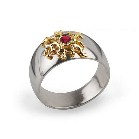 cyber monday sale silver coral gold ruby ring mens ruby