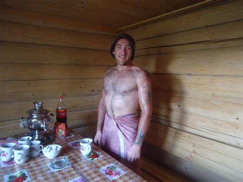 ralph butler sitting in a russian bath house