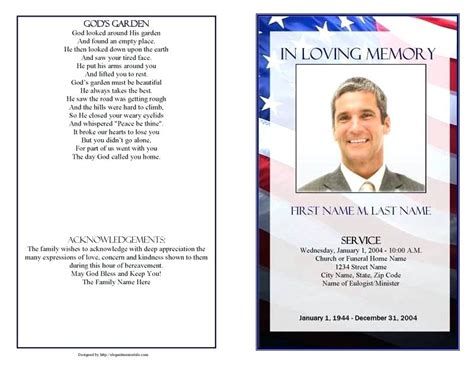 Memorial Card Template Microsoft Word 2 Sided by Funeral Card Template Display Patriotic Template Page 1