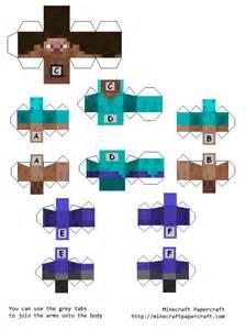 Minecraft Steve Paper Template by Papercraft Running Steve