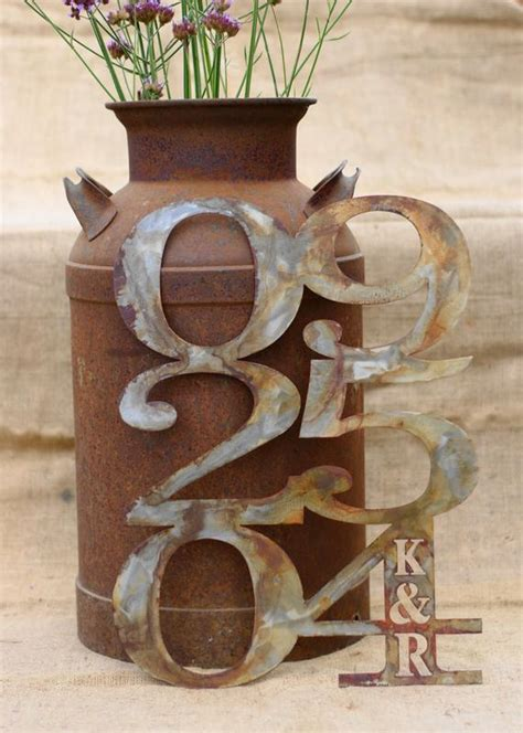 personalized rustic metal wedding anniversary date art