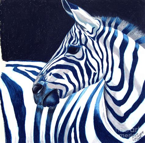 Animal Shower Curtain Blue Zebra Painting By Alison Caltrider