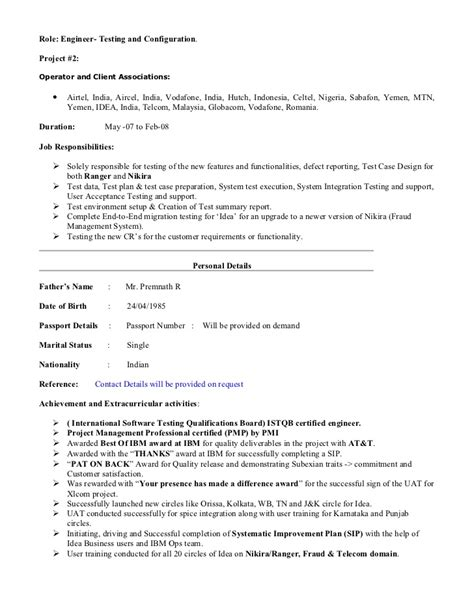 Telecommunication Consultant Sle Resume by Sachin 5 Yrs Telecom Ba Pmp Resume
