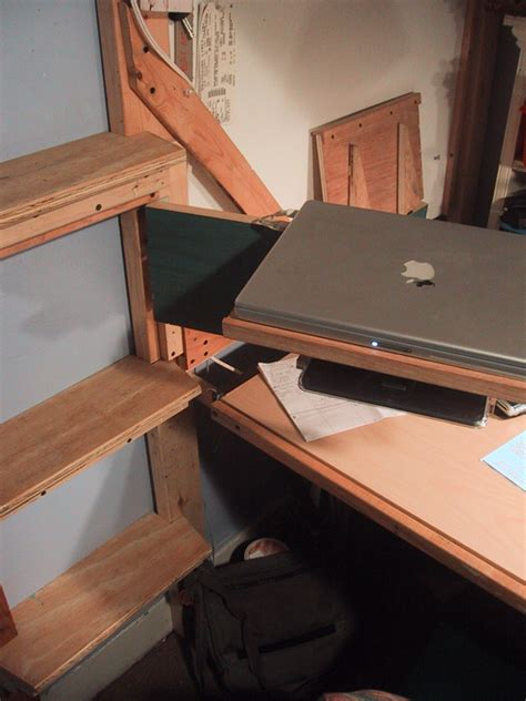 swing out computer desk secret door projects 187 desk finished and in use