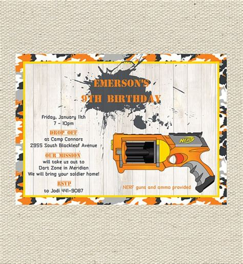 Nerf Birthday Invitations Printable Nerf Gun Birthday Invitation Template