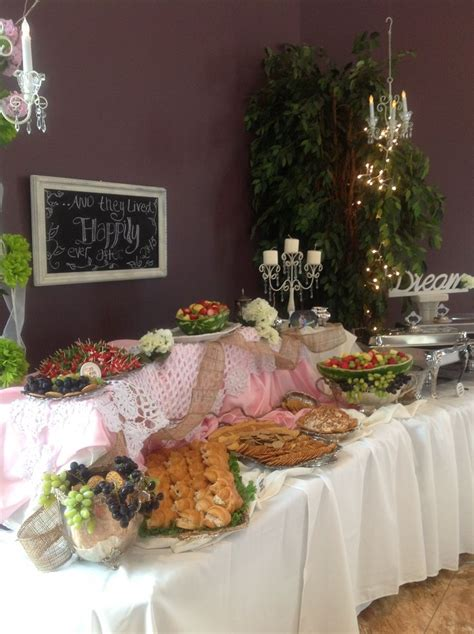 shabby chic reception food table sassy events showers