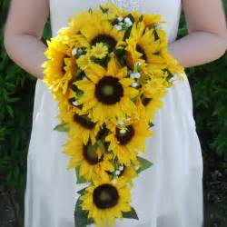 Artificial sunflower trailing bridal bouquet