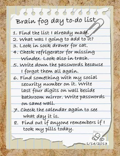 brain fog day to do list eds things pinterest
