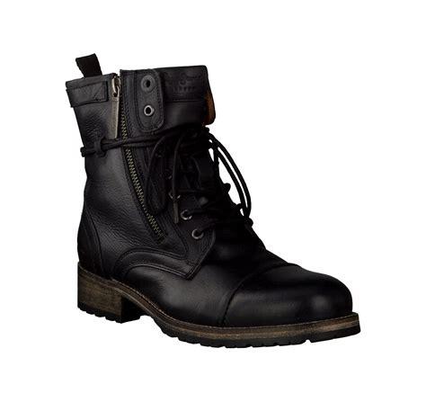 pepe jeans damen boots aus leder  schwarz im