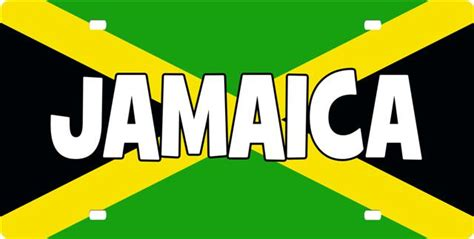 Colors And Meanings by Jamaican Flag With Text License Plate License Tag