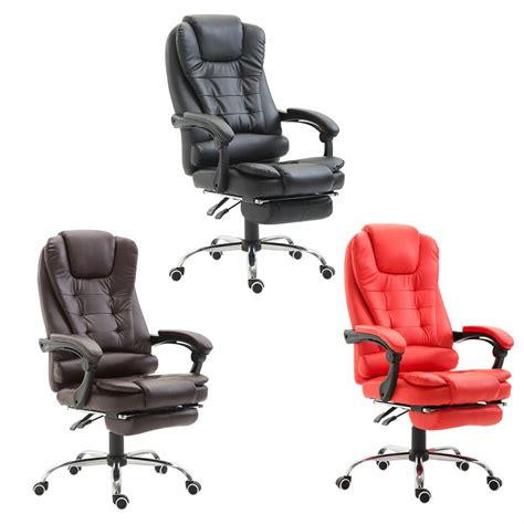 homcom executive style reclining office napping chair pu leather  footrest ebay