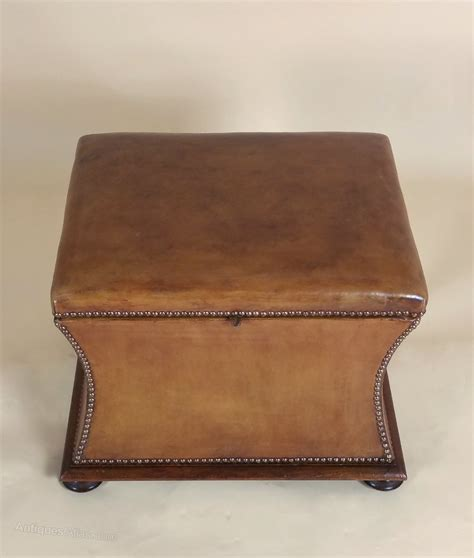 Victorian Mahogany Leather Upholstered Ottoman Antiques Ottoman Antique