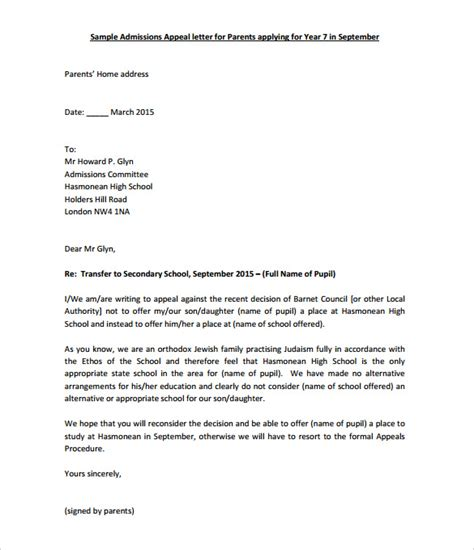 Appeal Letter For Offer 11 Appeal Letter Templates Free Sle Exle Format