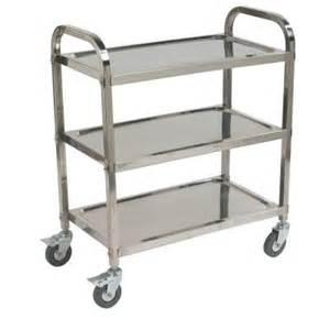 carlisle 300 stainless steel 3 shelf utility cart