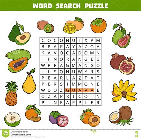 colorful flower crossword vector color crossword about fruits word search puzzle