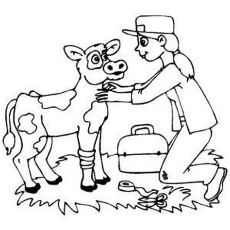 girl vet coloring page veterinarian helping wounded cow coloring page